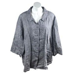 FLAX Linen Grey Button Up